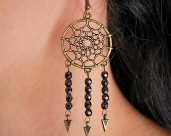 Dreamcatcher beads earrings,  boho earrings, dream catcher hippie earrings, summer feather earrings. Dangling Earrings.