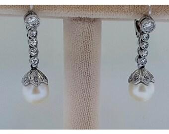 Art Deco platinum diamond and pearl earrings