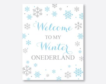 Instant Download, Winter Wonderland Welcome Sign, Winter Onederland Birthday Sign, Party Sign, First Birthday, Blue and Silver, Boy (GKB.04)