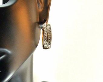 Silver Rhinestone Horseshoe Hoop Earrings 925 Silver Earrings Vintage 80 Earrings Hinged Earrings Small Hoop Earrings