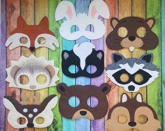 Woodland Animals Felt Masks * Birthday Parties * Party Favors * Playtime * Fox, Hedgehog, Deer, Rabbit, Skunk, Beaver, Raccoon, Chipmunk
