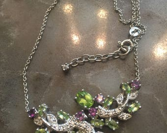 Silver 925 Natural Peridot / Amethyst  and  Zirconium  Necklace 19 inch  New (Other)