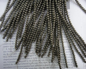Pyrite, 4mm natural pyrite round beads, 15.5 inch
