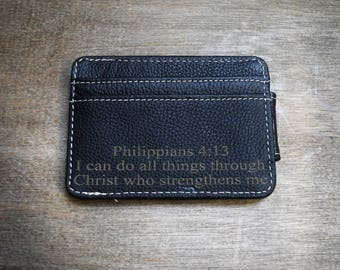 Personalized Money Clip, Black Leather Money Clip, Money Clip, leather wallet, groomsman gift, groomsmen gifts, personalized gift for him