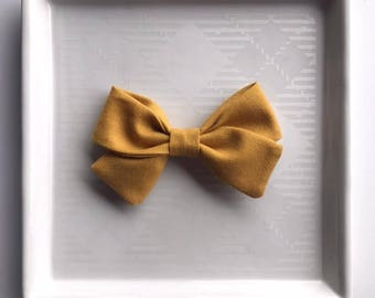 Mustard Classic Bow - Baby Girl Nylon Headband and Bows - Girls Fabric Bow - Newborn Bow - Mustard Yellow Bow - Fall Bow - Yellow Headband