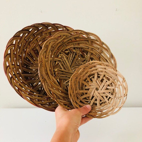 Vintage Brown Woven Baskets Set of (3) Large Medium Small Braided Wall hanging Decorative Storage Baskets Boho Decor