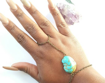 Turquoise finger bracelet-Brass hand chain- bohemian brass ring chain