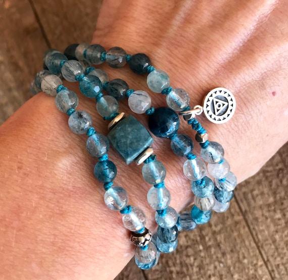 Rare Blue Rutilated Quartz Mala Beads / Apatite & Chrysocolla Mala / Throat Chakra Mala / Vishuddha Chakra Mala / Yoga Jewelry / Yoga Gift