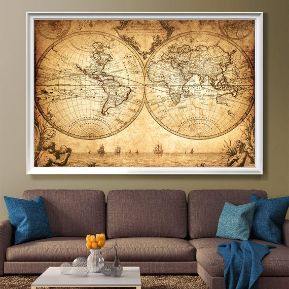 Old World Map Historic Map Antique Style World Map 18th