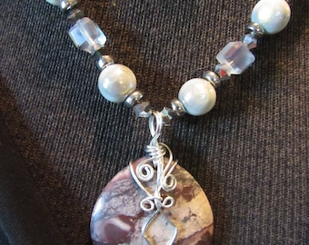 wrapped stone and glass necklace