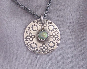 Handstamped Pendant with Necklace, Sterling Silver Pendant, Spring Blossoms