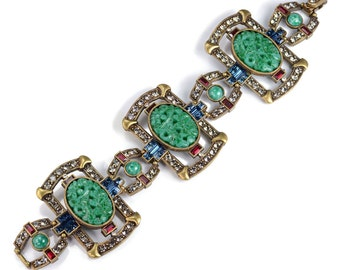 Art Deco Green Glass Jade Bracelet, Vintage Asian Bracelet, Jade Jewelry, Green Bracelet, Art Deco Jewelry, 1920s Bracelet, Flapper BR9522