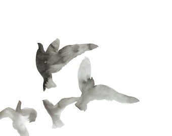 birds in flight no. 1 . original ink painting