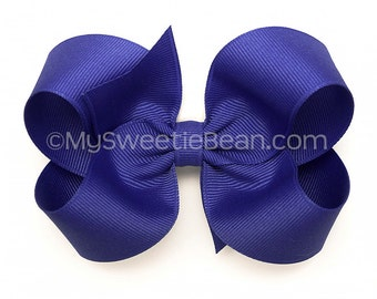"""Blue Violet Boutique Bow, Indigo Hair Bow, Pansy, 4 inch Twisted Boutique Bow, 4"""" No Slip Hairbows for Baby, Toddler, Girls, Large 4"""" Bow"""