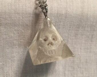 Pyramid Skull Resin Pendant necklace.  Creepy cute. Hand sculpted clay bones.