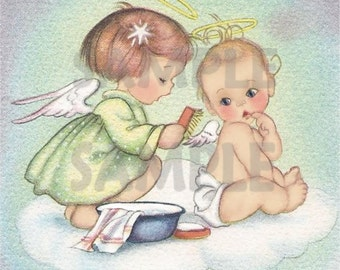 Vintage Baby Image with Angels- Digital, printable, download, from greeting card