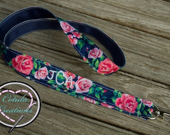 Personalized Navy Floral Lanyard (For Keys, ID badges, Flash drives, etc.)