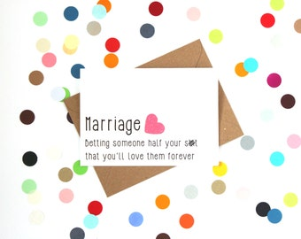 Funny wedding card, Funny engagement card, Funny marriage card, Funny card: Marriage betting someone half your sh!t you'll love them forever