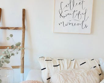 Collect beautiful moments black and white wooden sign