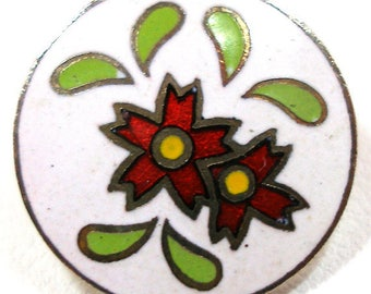 "50s Japanese Button, Cloisonne flowers in red, 5/8"". Four colors."