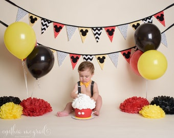 MICKEY BANNER . birthday banner . boy 1st birthday banner . baby shower banner . oh twodles . happy birthday banner / highchair banner
