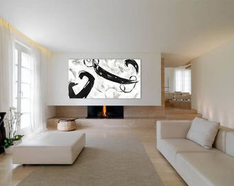 "Extra Large Abstract Painting Black and White 63""x35"" Original Oil on Canvas Modern Minimalist Wall Art Contemporary Huge"