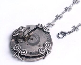 Steampunk Antique Pocket Watch Movement n Cross Chain Lariat Necklace