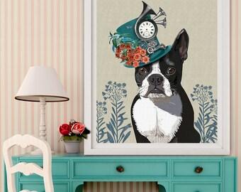 Boston Terrier Art print - Milliners Dog - special gift for wife Whimsical dog art boston terrier painting dog decor