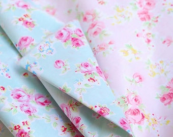Sale- Aqua Blue Fabric Pink Flower, Aqua Coordinate Fabric, Shabby Chic Flower White Polka Dots, Pink Floral Cotton,- Fabric by Yard
