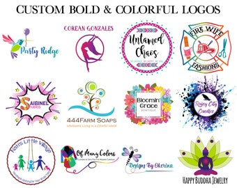 Colorful Logo - Custom Logo Design - Photographer Logo - Branding Identity - Vector Logo - Feminine Logo - Small Business Logo - Etsy Cover