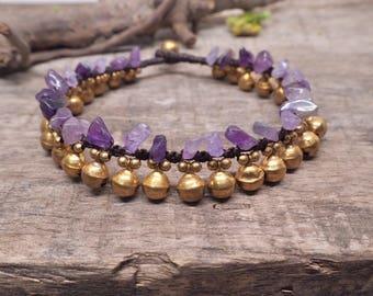 Amethyst Brass Bell Anklet/ Bracelet, Boho Jingling Ankle Bracelet, Wedding Ankle Bracelet