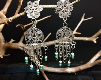 "Vintage ""Hamsa"" Hand of Fatima Sterling Silver Clip On Filigree Earrings   #293"
