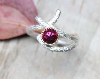 Branch Engagement Ring Dark Pink Rhodolite Garnet Silver 14K Yellow Gold Woodland Twig January Birthstone Rustic White Burgundy - Berry Bark