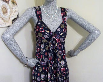 Bianca Nygard Sun Dress- Petite size, navy blue with colorful nautical images throughout. If you like nautical prints then you will love it!