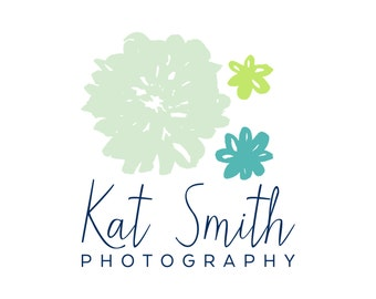 Premade Logo: Hand Drawn Flowers Photography (and optional shop branding sets)