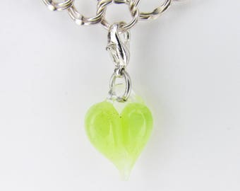 Neon Green Glass Love Charm Clasp, Hand Blown Glass, Heart Clip, dangle, Boro Lampwork jewelry, Heart Pendant, Valentine's Gift for Wife