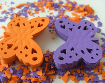 100, purple and orange, paper, purple pumpkin, Butterflies, scrapbooking, paper craft, confetti, by DoodleDee2 on etsy