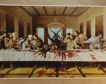 "Satanic Last Supper GIANT WIDE Size 42"" x 24"" Poster Atheist Jesus 666"