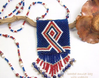 Hand Beaded Amulet Bag Necklace with Sodalite Gemstones