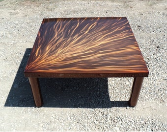 Copper Color Steel Coffee Cocktail Table - Orange Brown Contemporary Square Steel Bold Art