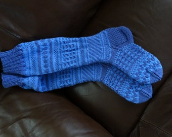 Knee-High Socks.  Designed and Knitted by Pauline in a variety of colours