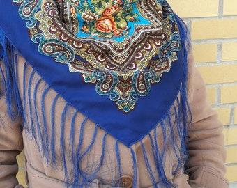 Shawl | wrap | cover up |   shawl with flowers and fringes | Ladies shawl | Chale russe | Pashima Boho shawl |
