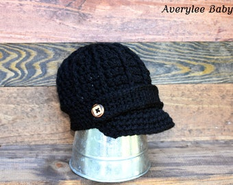Black Newsboy Hat for Boys, Baby Boy Hat, Crochet Newsboy Hat, Boys Black Hat, Toddler Black Hat, Newborn Hat, Preemie Black Newsboy Hat