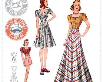 E-PATTERN- Circa 1939 Blouse, Skirt, Shorts & Girdle- 1930s 1940s- Wearing History PDF Vintage Sewing Pattern