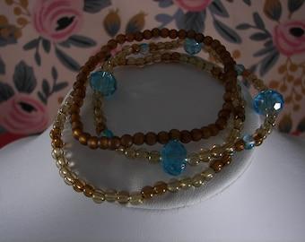 Aqua and Brown Bracelet Set