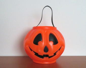 Vintage 1998 Plastic Halloween Jack o'Lantern Pumpkin Candy Pail Stash Your Candy Use for Display Trick or Treat Pail Trick or Treat Bucket
