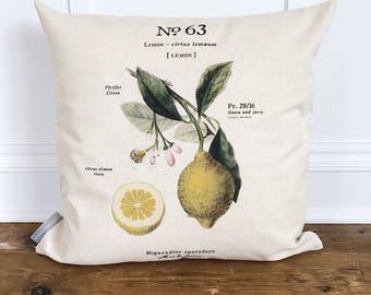 Lemon Botanical Pillow Cover