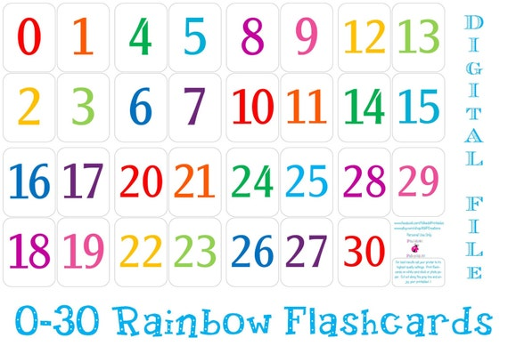 Printable 0 - 30 Number Flashcards - Instant Download