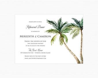 Palm Tree Rehearsal Dinner Invitations, Beach Rehearsal Dinner Invitations, Destination Beach Key West Rehearsal Dinner Invitations