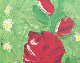 "Abstract Original Acrylic Palette Knife Rose Garden Painting 9"" x 12"" Canvas"